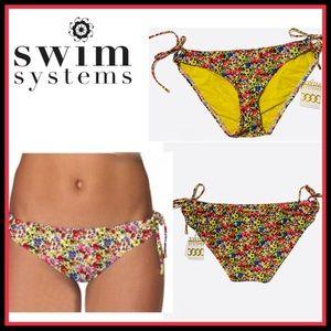 ♥️NWT SWIM SYSTEMS Floral  SIDE-TIE Bikini Bottom